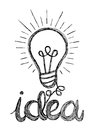 Vector light bulb icon with concept of idea. Doodle hand drawn s