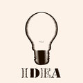Vector light bulb icon with concept of idea. Doodle hand drawn sign. Illustration for print, lamp