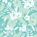 Vector light green and blue tropical summer hawaiian seamless pattern with tropical plants, leaves, and hibiscus flowers Royalty Free Stock Photo