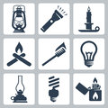 Vector light and lighting appliances icons set lantern flashlight candle bonfire torch bulb hurricane lamp energy saving bulb Stock Photos