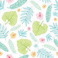 Vector light tropical summer hawaiian seamless pattern with tropical plants, leaves, and hibiscus flowers on white Royalty Free Stock Photo