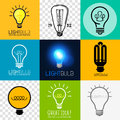 Vector lightbulb collection set of various light bulb symbols illustration Royalty Free Stock Image