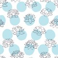 Vector lilies contours with blue circles seamless pattern on white background. Vintage floral design. Royalty Free Stock Photo
