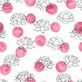Vector lilies contours with pink watercolor circles seamless pattern on white background. Vintage floral design. Royalty Free Stock Photo