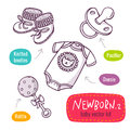 Vector line art icon set with baby products for newborns isolate Royalty Free Stock Photo