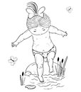 Vector line art illustration of a small girl on a stone takes a step into the water