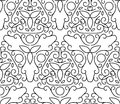 Vector line art style seamless pattern. Abstract floral decorative background in black and white color