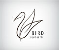 Vector line bird logo, pigeon silhouette, flying abstract logo, icon Royalty Free Stock Photo