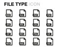 Vector line file type icons set