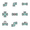 Vector line flat pipe fittings icon set Royalty Free Stock Photo