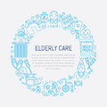 Vector line icon of senior and elderly care. Medical poster template with illustration of old people, wheelchair, leisure, hospit
