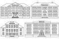 Vector line icon set school buildings.