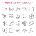 Vector line icons of fabric feature, garments property symbols. Elements - cotton, wool, waterproof, uv protection. Wear labels Royalty Free Stock Photo
