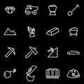Vector line mining icon set