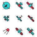 Vector line orbit satellite icons set Royalty Free Stock Photo