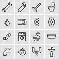 Vector line plumbing icon set