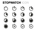 Vector line stopwatch icons set