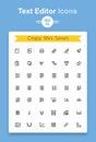 Vector line text document editing application tiny icon set. Minimalistic crisp contour icons Royalty Free Stock Photo
