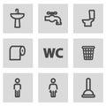 Vector line toilet icons set