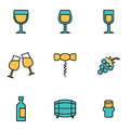 Vector line wine icon set