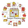 Vector finance and banking budget planning concept
