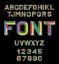 Vector linear font. 80 s retro alphabet font. Color alphabet in retro style for the design of your project. Vector