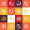 Vector linear hexagon logos and design elements abstract icons for different business technologies Stock Photos