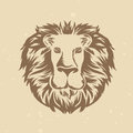 Vector lion head in engraving style vintage illustration Royalty Free Stock Images