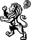 Vector lion rampant sports mascot heraldic themed imagery Stock Photo