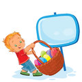 Vector little boy is dragging a basket for Easter hunting with decorated eggs.