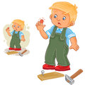 Vector little boy hammering a nail and bruised finger