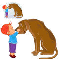 Vector little boy hugging head and kissing nose his dog s