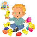 Vector little boy playing with decorated Easter eggs and yellow chickens.