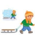 Vector little boy pulling a sledge behind him