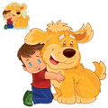 Vector little boy sitting on his lap next to a big dog and hugging his hands. Royalty Free Stock Photo