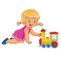 Vector little girl crawling on her knees and playing with a steam locomotive