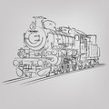 Vector locomotive sketch abstract illustration of an old Royalty Free Stock Photography