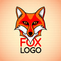 Vector logo, badge, sign template with red fox face. Royalty Free Stock Photo