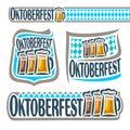 Vector logo bavarian pattern flag oktoberfest Royalty Free Stock Photo