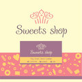 Seamless pattern with sweets and desserts. Black background