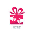 Vector logo design for holidays and gift shop. Royalty Free Stock Photo