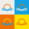 Vector logo design template. Abstract line sun and open book. Education, library, school, university, knowledge icon concept. Royalty Free Stock Photo