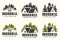 Vector logo design of a trees silhouette and small house.