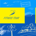 Vector logo fitness tour. Sign happy travel. Color background