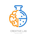 Vector logo, icon, symbol with brain and lab flask.