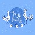 Vector logo illustration of happy family