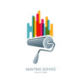 Vector logo, label or emblem design element. Paint roller and multicolor paints isolated icon.