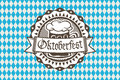 Vector logo for Oktoberfest in the pub or bar during the fest, beer mug with foam filled to the brim