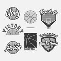 Vector logo set for a basketball team collection of graphic monochrome design elements labels and badges on sport theme Stock Photos