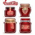 Vector logo Strawberry Jam in glass Jars Royalty Free Stock Photo